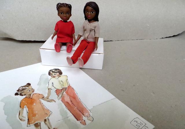 poupées aquarelle